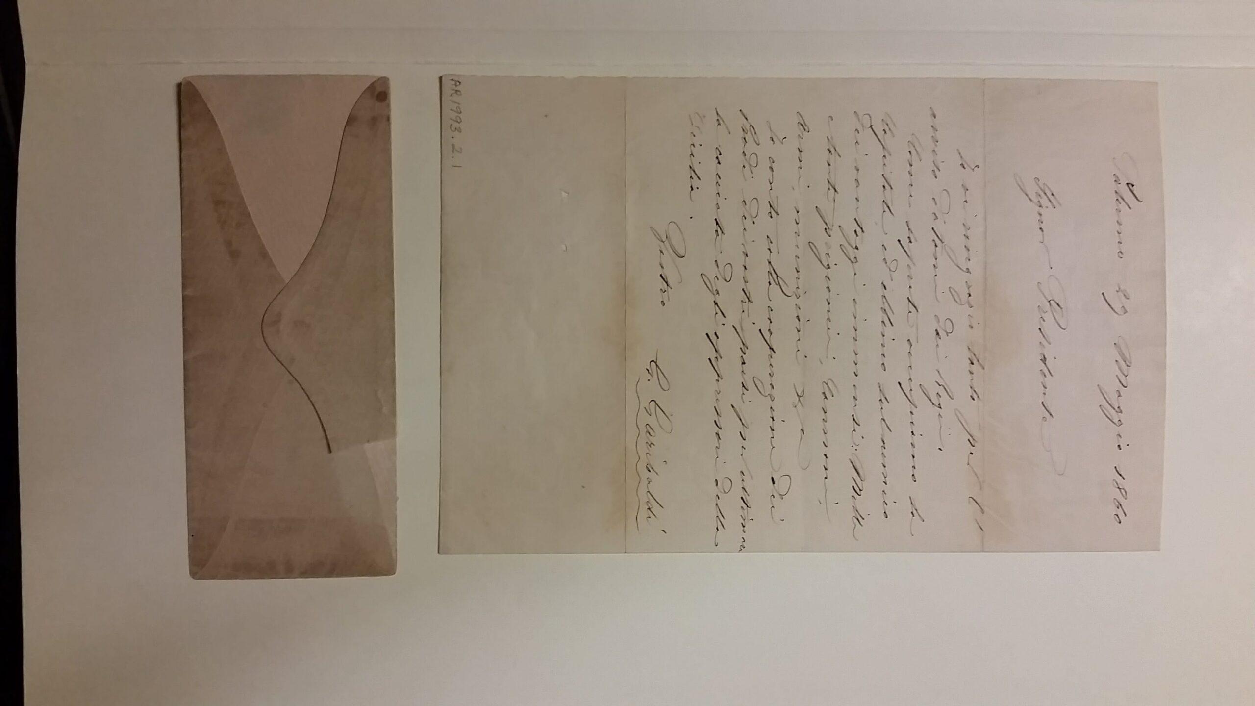 Correspondence from Giuseppe Garibaldi